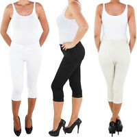 Damen Stretch Capri Kurze 3/4 Jeans Hose Shorts Bemuda Hüft Sommer bis Übergröße