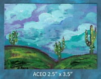 Original ACEO - Saguaro Cactus in Spring, Abstract - miniature acrylic painting