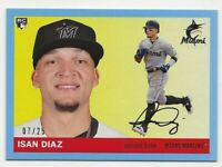 2020 Topps Archives ISAN DIAZ Blue Border Parallel /25 Marlins RC Rookie #72