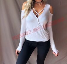 Sexy Cold Shoulder Criss Cross Wrap Surplice Hi-Lo Jersey Fashion Top Blouse