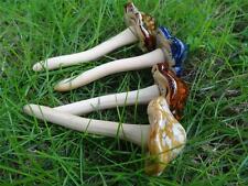 Set of 4 Cute Ceramic Pottery Mushroom Yard Garden Decor Ornament Model Statues