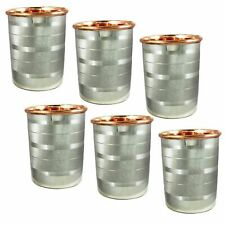 Water Drinking Glasses Set of 6 Copper and Stainless Steel Indian Drinkware