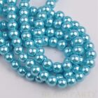 100pcs 6mm Pearl Round Glass Loose Spacer Beads Jewelry Making Lake Blue