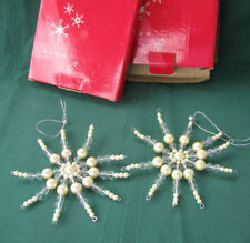 Avon Beaded Snowflake Ornaments Lot of 2 Avon Christmas Ornaments