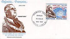 FDC / PREMIER JOUR POLYNESIE FRANCAISES / CHARLES DE GAULLE / HONO URA 1990