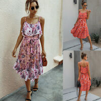 ️ Women's Sexy Sleeveless Strappy Boho Midi Dress Ladies Summer Ruffle Sundress