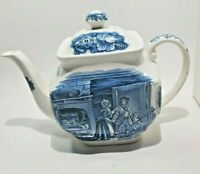 Staffordshire Liberty Blue Tea Pot Minute Men