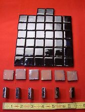 50 Miniature-Glossy-Black Ceramic Tiles…red clay tile…NOS…by the Mosaic Tile Co.