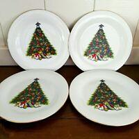 "World Bazaar's Fine China Christmas Tree Salad Dessert Plates Gold Trim 7.5"" EUC"