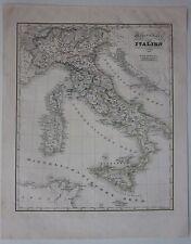 1837-40 GENERALKARTE ITALIEN carta geografica Italia litografia Carl Glaser