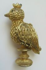 Corday LE COQ D'OR Perfume Solid - Goldtone Bird on Pedestal - Partial Contents