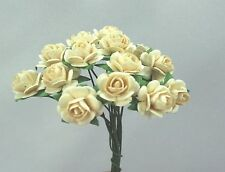 # 10 Small Ivory Mulberry paper Roses on stems by Green Tara