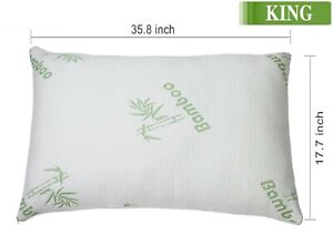 King Size Original Bamboo Memory Foam Bed Pillow Hypoallergenic with a Carry Bag