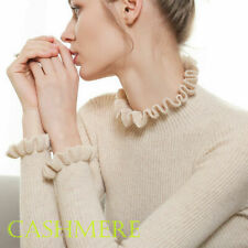 Womens Slim Knitted Sweater Flounce Cashmere Turtleneck Long Sleeve Jumpers