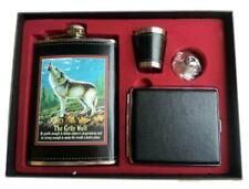 HOWLING WOLF FLASK GIFT SET W CIGARETTE CASE funnel DRINKING HIP SHOT GLASS #461