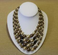 Vintage Necklace Four Strand Graded Taupe Coffee Golden Beads Japan Exc Con 58