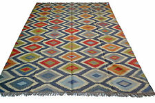 Extra Large Kilim Rug Ethnic Geometric Wool Jute Indian 240x300cm 8x10' Handmade