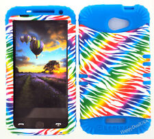 KoolKase Hybrid Silicone Cover Case for HTC One X S720e - Zebra Rainbow White