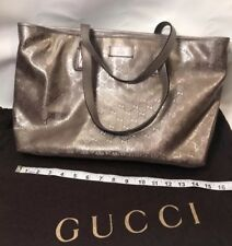Gucci Imprime Logo Monogram Large Tote Shopper Beige Pink Tan Lilac Brown Metal