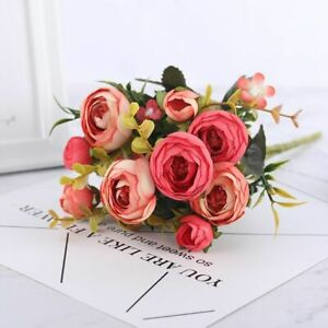 Artificial Flowers Camellia Silk DIY Daisy Rose Bride Bouquet Wedding Decoration