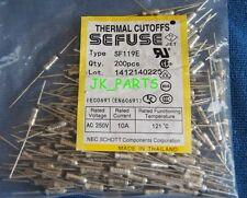 10pcs SF119E SEFUSE Cutoffs NEC Thermal Fuse 121°C Celsius Degree 10A 250V