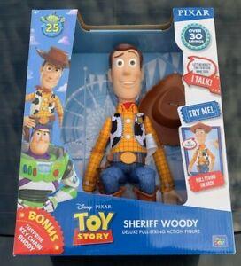 "Toy Story Talking Sheriff Woody Doll Thinkway Figure 25th Anniversary Pixar 12"""