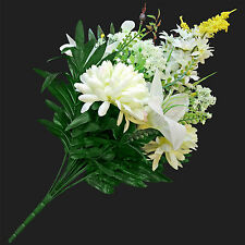 Large chrysanthemum and lily mixed flower bush with greenery