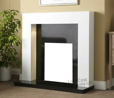 """GAS ELECTRIC WHITE BLACK GRANITE MARBLE SURROUND MODERN FIRE FIREPLACE SUITE 54"""""""