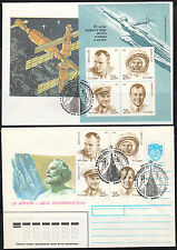Soviet Russia 1991 two Space covers Gagarin & Tsiolkovsky Mi Block 219