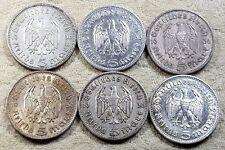 UNIQUE 6 x Full Mint Set 5 ReichsMark Hinderburgh 1936 Nazi Silver Coins Lot 2
