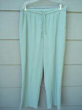 """TravelSmith Pants Sz XL Elastic 34"""" Waist Green Crinkle Polycotton Cool Summer"""