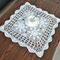 """Vintage Hand Crochet Lace Doily Table Topper White Square Table Cloth Cover 15"""""""