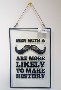 Movember Moustache History Glass Metal Wall Hanging Plaque Mustache Gift Sign M2
