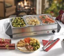 Cooks Professional Food Warmer Buffet Server Hot Plate 3 Tray Section Adjustable