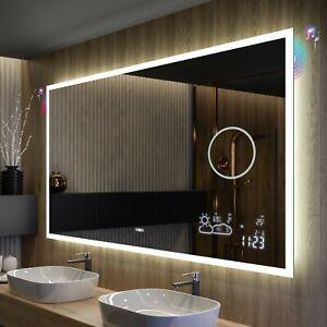 BADSPIEGEL mit LED Beleuchtung Wandspiegel Spiegel BT AUDIO WETTER WIFI SCHALTER