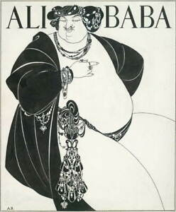 Aubrey Vincent Beardsley Ali Baba Poster Reproduction Giclee Canvas Print