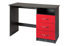 Marina High Gloss 3 Drawer Dressing Table PC Study Desk - 7 Colours Red and Black
