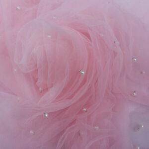 1 Yard Pearl Yarn Mesh Net Fabric for Wedding Dress Cloth 160cm Wide White Pink