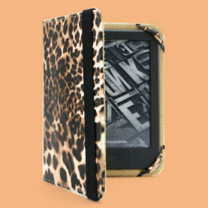 Leopard Print PU Leather Shell Case Cover Handgrip for Amazon Kindle (any gen.)