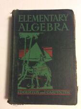 Elementary Algebra  1942  Allyn and Bacon  Edgerton and Carpenter Hardcover