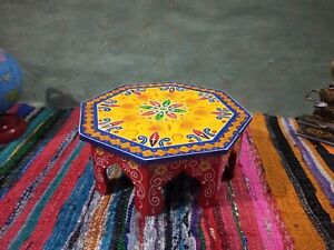 Indian wooden bajot chowki embossed painted handcrafted rajasthani wood table
