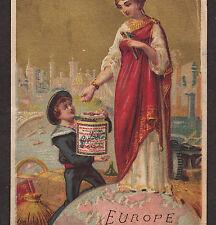 c 1883 (130+ yrs old) Globe Continent Woman LIEBIG S 0150 jar English US Card