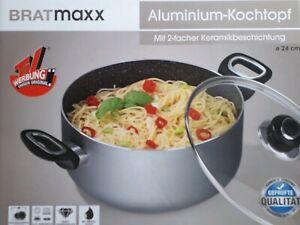 BRATmaxx Kochtopf Aluminium 24 cm Glas-Deckel Gas Elektro Induktionsherd geeigne