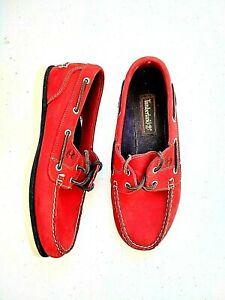 Timberland Men's Red Suede Boat Shoes Size 8M