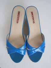 PRADA Criss Cross Blue Patent Leather Cork Wedges Open toe Slides Size 40