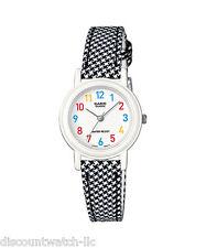 Casio Ladies LQ139LB-1B White/Black Genuine Leather Casual Dress Watch NEW Nice