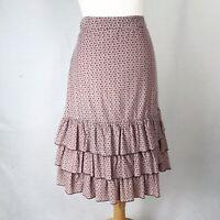 Laura Ashley Pink & Brown Corduroy Ruffle Layered Spotty Skirt UK Size 14