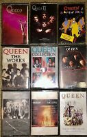 LOT OF 9 QUEEN CASSETTE TAPES  II LIVE KILLERS THE WORKS GAME GREATEST HITS LOOK