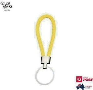 Key Holder Men Women Keyring Leather Braided Woven Rope Yellow