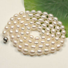 """Fashion AA 8-9mm White oval Cultured freshwater pearl Necklace34"""""""